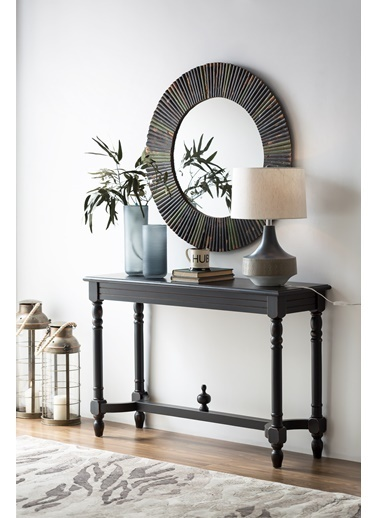Warm Design Ahşap Duvar Aynası  Siyah